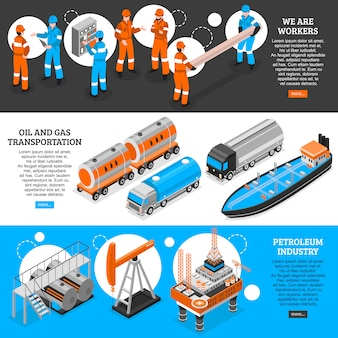 Bannières isométriques à l'huile