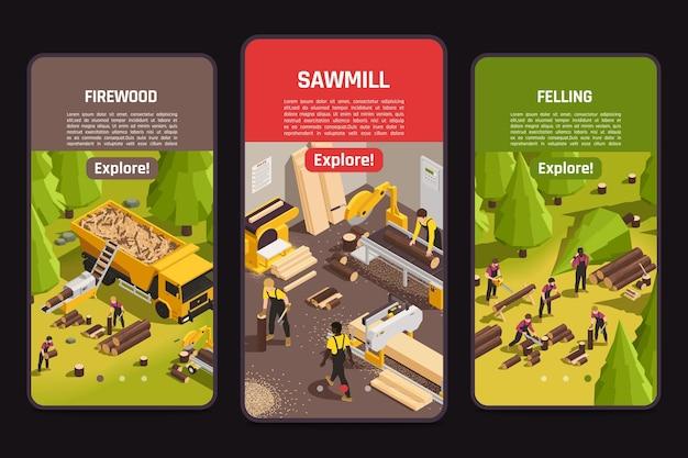 Bannières isométriques avec illustration des processus de coupe du bois