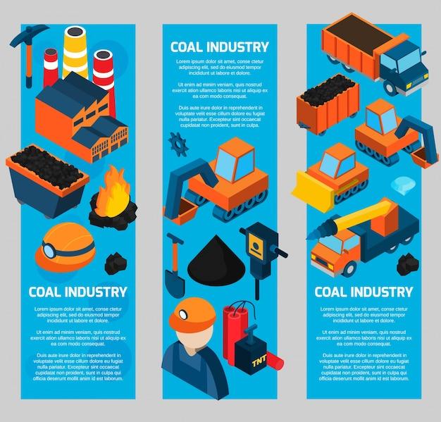 Bannières isométriques de l'industrie du charbon