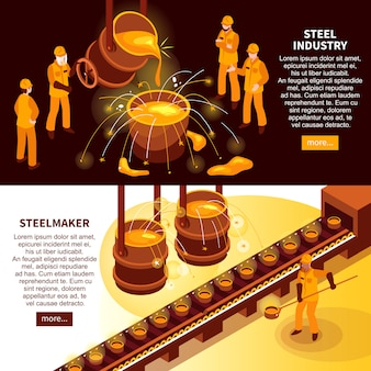 Bannières isométriques de l'industrie sidérurgique