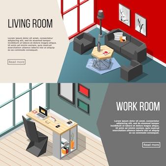 Bannières isométriques intérieures résidentielles futuristes