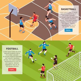 Bannières isométriques de jeux sur le terrain de sport