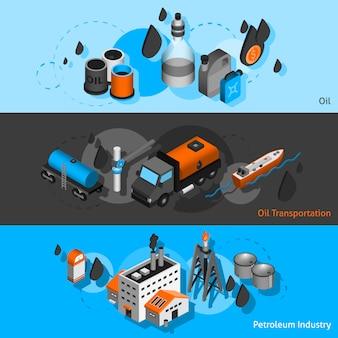 Bannières isométriques de pétrole