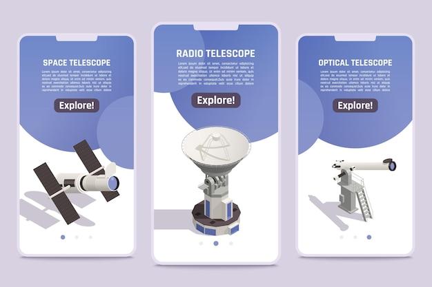 Bannières isométriques avec radio spatiale professionnelle et télescopes optiques pour explorer les objets d'astronomie 3d