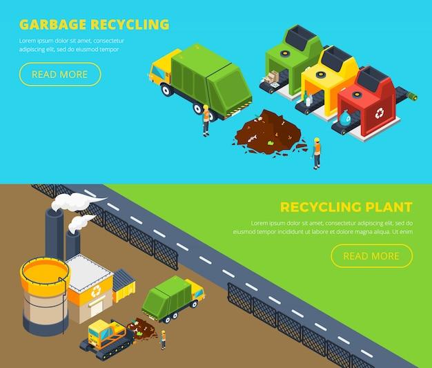 Bannières isométriques de recyclage des déchets