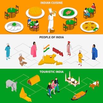 Bannières isométriques touristiques de la culture indienne