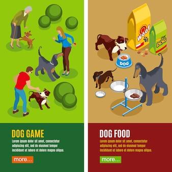 Bannières isométriques verticales pour chiens