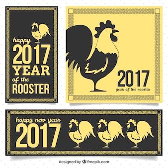 Bannières jaunes et noires pour le nouvel an chinois