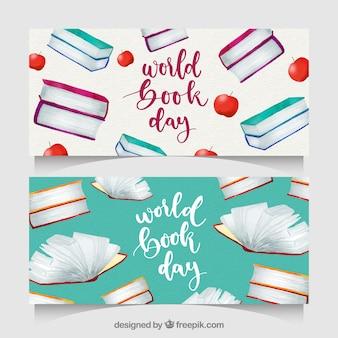 Bannières de jour du livre aquarelle mondiale