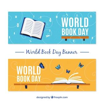Bannières de jour du livre du monde heureux au design plat
