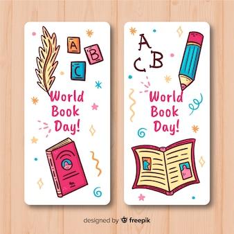 Bannières de jour du livre monde dessinés à la main