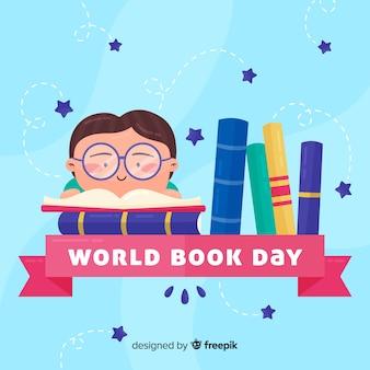 Bannières de jour du livre monde plat