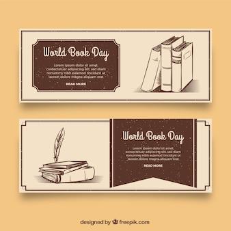 Bannières de jour du livre mondial dans le style vintage