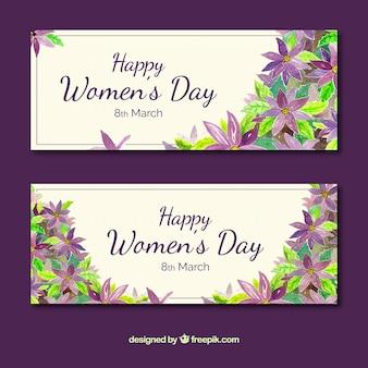 Les bannières de jour de femme avec des fleurs à l'aquarelle