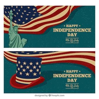 Bannières de jour de l'indépendance usa dessinés à la main