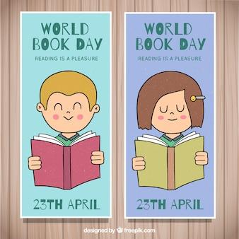Bannières de jour de livre du monde dessinés à la main