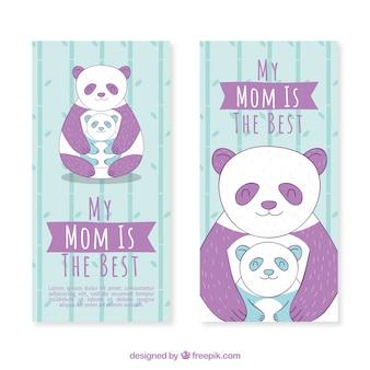 Les bannières de jour de la mère mignonne avec pandas géants