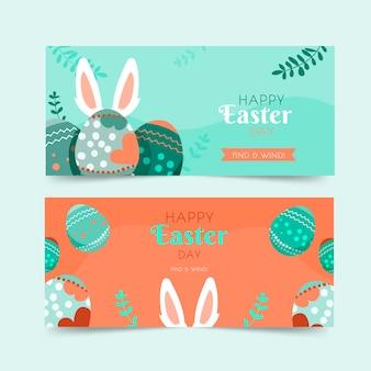 Bannières de jour de pâques au design plat