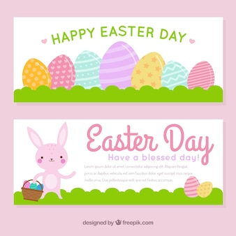 Bannières de jour de pâques aux couleurs pastel