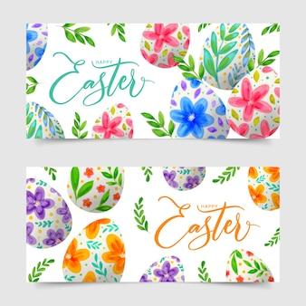 Bannières de jour de pâques design aquarelle avec des oeufs