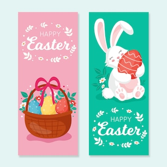 Bannières de jour de pâques design plat avec lapin