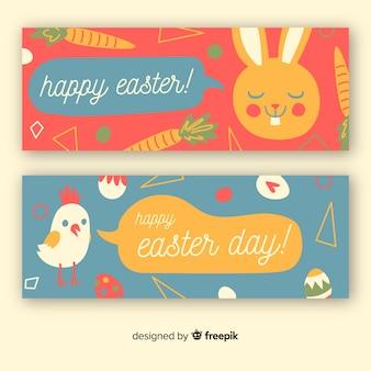 Bannières de jour de pâques dessinés à la main