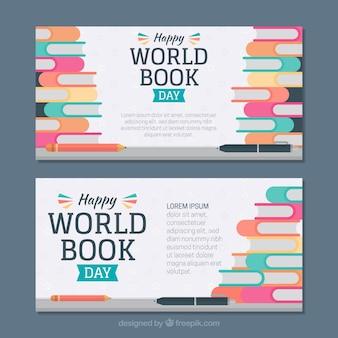 Bannières de jour plat livre du monde