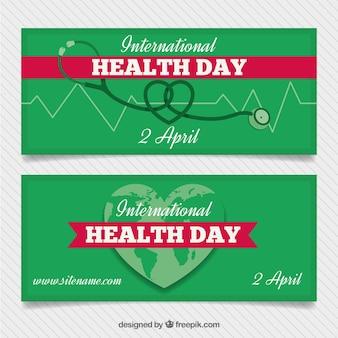 Bannières de jour de santé vert