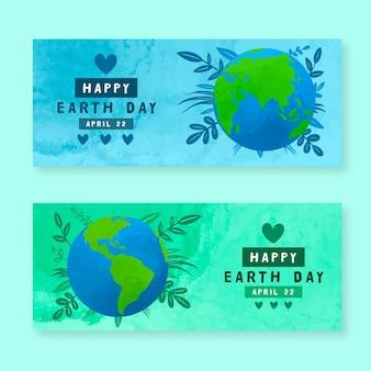 Bannières de jour de la terre mère aquarelle