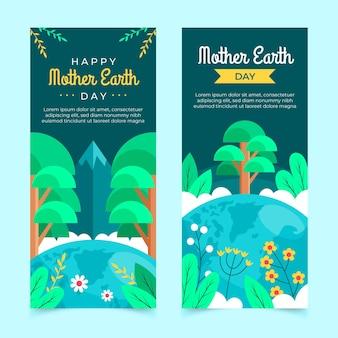 Bannières de jour de la terre mère plate