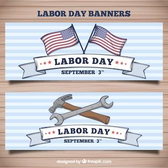 Bannières de jour de travail américain dessinés à la main
