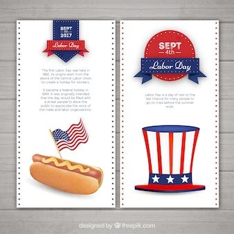 Bannières de jour de travail avec hot dog et chapeau
