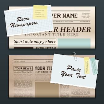 Bannières de journaux vintage