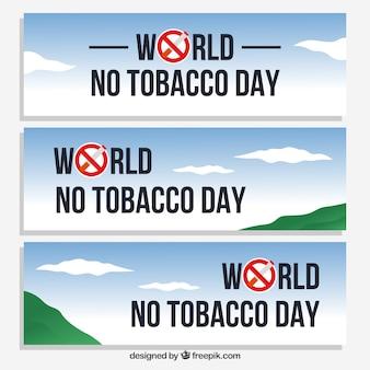 Bannières de la journée anti-fumeur avec paysage