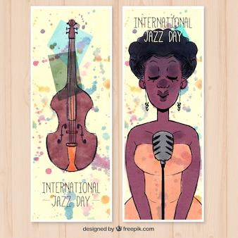 Bannières de la journée internationale du jazz aquarelle