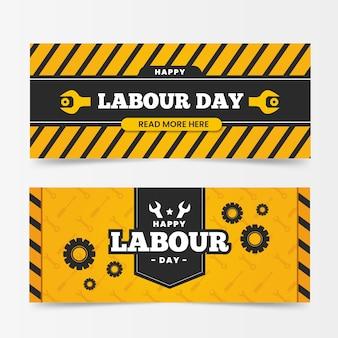 Bannières de la journée internationale du travail design plat