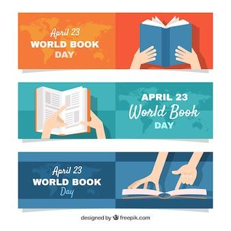Bannières de journée mondiale du livre au design plat
