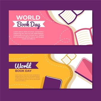 Bannières de la journée mondiale du livre design plat