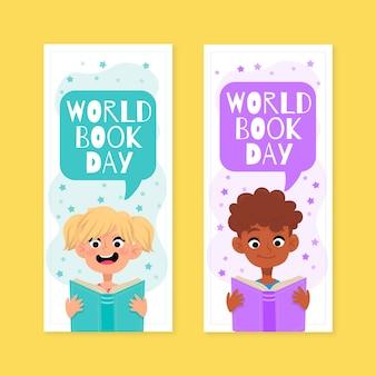 Bannières de la journée mondiale du livre dessinés à la main