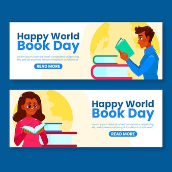 Bannières De La Journée Mondiale Du Livre Dessinés à La Main Vecteur gratuit