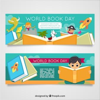 Bannières de la journée mondiale du livre avec des enfants