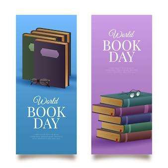 Bannières de la journée mondiale du livre illustrées
