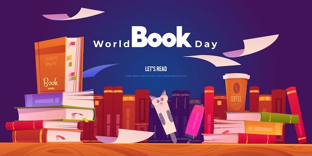 Bannières de la journée mondiale du livre plat