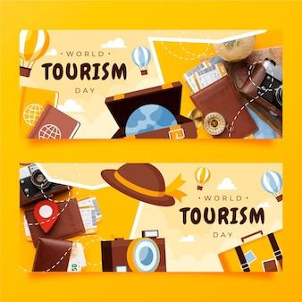 Bannières de la journée mondiale du tourisme avec photo