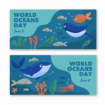 Bannières de la journée mondiale des océans dessinées