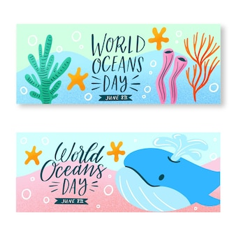 Bannières de la journée mondiale des océans dessinés à la main