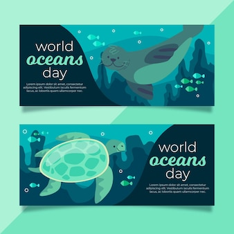 Bannières de la journée mondiale des océans avec phoque et tortue