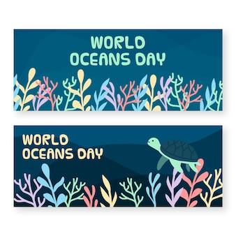 Bannières de la journée mondiale des océans avec tortue