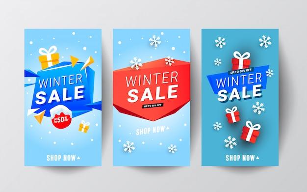 Bannières joyeux noël et nouvel an sertie de cadeaux rouges et de neige.