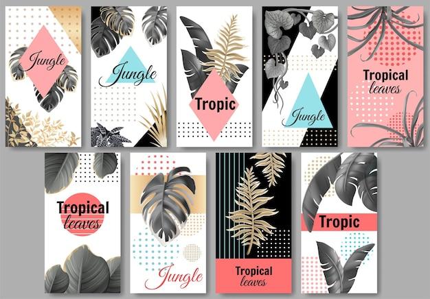 Bannières de jungle avec des feuilles sombres et dorées